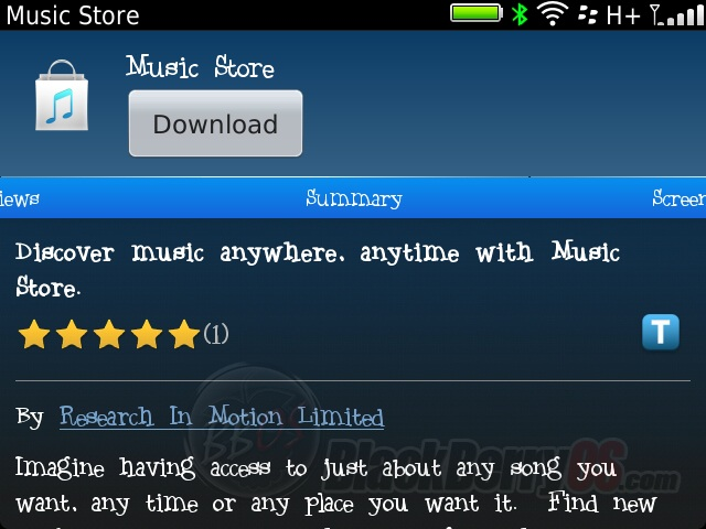 Official BlackBerry Music Store Now Available In App World